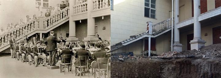 Терраса Дома культуры в 1954 и во время начала реконструкции
