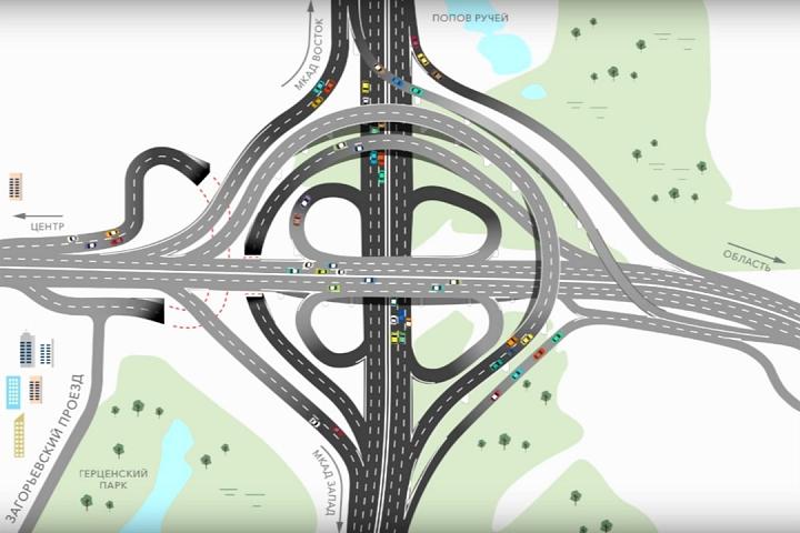Опубликована презентация реконструкции развязки МКАД – Липецкая улица – М4 «Дон»