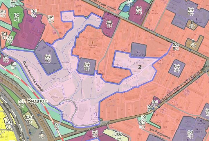Фрагмент схемы проекта ПЗЗ с наложением на карту в районе Тимоховского парка. Кликните для увеличения