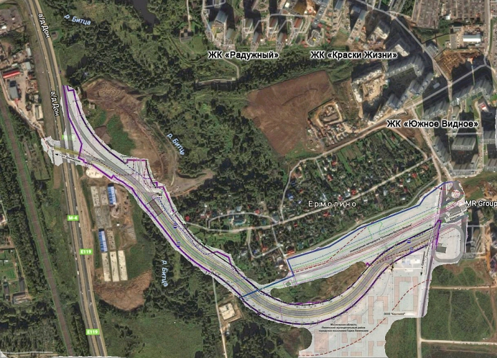 Наложение проекта дороги на карту Google