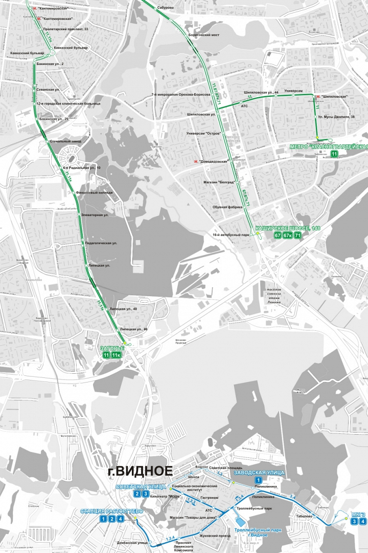 Троллейбусные сети Москвы и Видного
