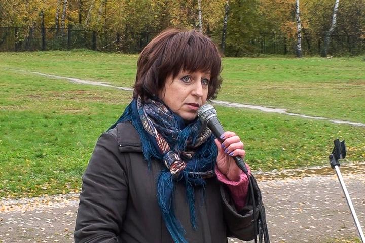 Ольга Чеботарева на митинге в пос. Развилка