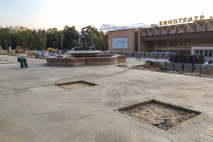 Продолжается реконструкция территории у к/т «Искра», начинается реконструкция фасадов 20-ти ближайших домов. Фоторепортаж фото 36